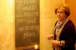 Mala Tribich at a Holocaust Memorial